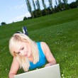 Working with a laptop in the park — Stock Photo