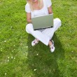 Young pretty blonde with a laptop — Stock Photo