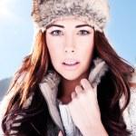 Winter Woman On Ski Slope — Stock Photo