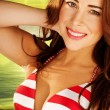 Beautiful Woman In Striped Bikini - Stock Photo