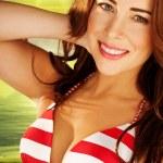 Beautiful Woman In Striped Bikini — Stock Photo #8291272