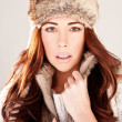 Royalty-Free Stock Photo: Gorgeous Redhead Fashion Model In Winter Fur