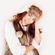 Smiling Woman In Winter Fur Hat — Stock Photo