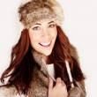 Smiling Woman In Winter Fur Hat — Stock Photo #8334987