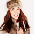 Stock Photo: Smiling Woman In Winter Fur Hat