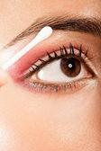 Applying Eye Makeup Eye Open — Stock Photo