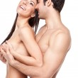 Laughing Topless Couple — Stock Photo