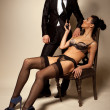 Businessman And Sexy Lady In Lingerie - Stock Photo