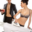Man Giving Gift To Woman In Lingerie — Stok fotoğraf