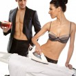 Man Giving Gift To Woman In Lingerie — Stockfoto