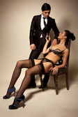Businessman And Sexy Lady In Lingerie — Stock Photo