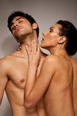 Topless Couple In Loving Foreplay — Stock Photo