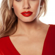Seductive Blonde In Red Dress — Stock Photo #8715835
