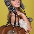 Vivacious Young Woman Carrying Bag — Stock Photo