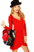Fashion Model Wearing Sexy Red Outfit — Stock Photo