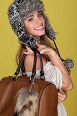 Vivacious Young Woman Carrying Bag — Stock Photo