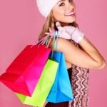 Постер, плакат: Smiling Woman Out Shopping