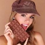 Pretty Woman Holding Chocolate Treat — Stock Photo #8888787