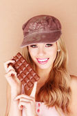 Pretty Woman Holding Chocolate Treat — Stock Photo