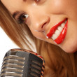 Red Lips And Microphone — Stock Photo