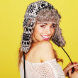 Stock Photo: Vivacious WomIn Woolly Winter Hat