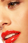 Glossy Red Lips — Stock Photo