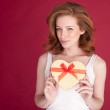 Smiling Woman With Valentines Gift — Stock Photo