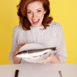 Woman Laughing At Fish — Stock Photo #9002435