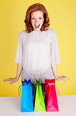 Excited Woman With Shopping Bags — Stock Photo