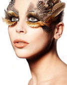 Creative Feathered Eye Makeup — Stock Photo