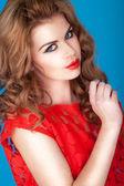 Seksowny czerwony aniołki łuk usta — Zdjęcie stockowe