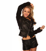 Sexy young girl wearing leather — Stock Photo
