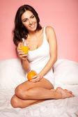 Healthy Orange Breakfast — Stock Photo