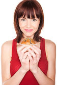 Woman With Large Muffin — Stock Photo