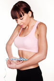 Woman Checking Her Weightloss — Stock Photo