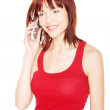 Smiling Redhead Talking On Phone — Stock Photo