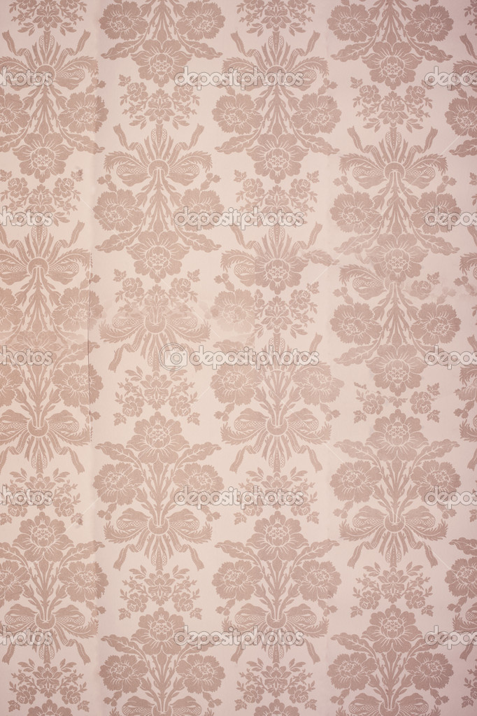Vintage beige coloured floral wallpaper background with bouquets of flowers in rows — Stock Photo #9536373