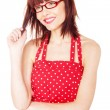 Cute female in red dress — Stock Photo