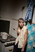 A student is in a dormitory. — Stock Photo