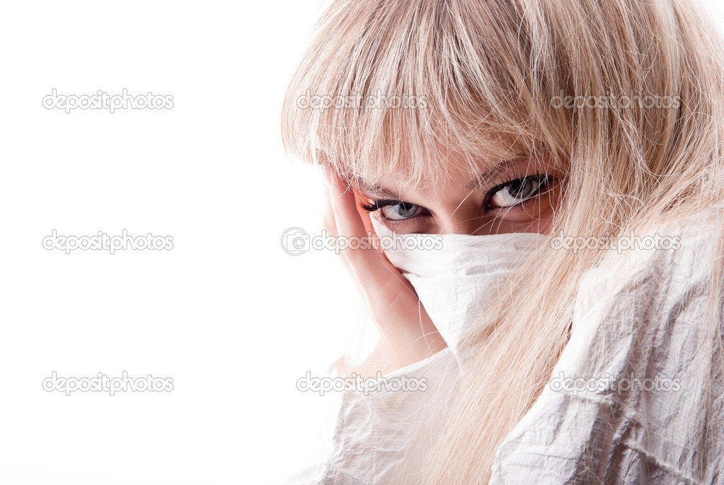 Portrait of girl by covering a person fabric.  Stock Photo #8469604