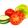 Ripe sliced cucumber, pepper and tomatoes.Isolated. — Stock Photo