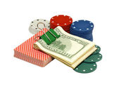 Casino chips,play cards and dollars. — Stock Photo