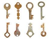 Oude roestige keys.isolated instellen. — Stockfoto