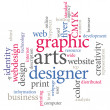 Graphic designer. Trendy print concept word cloud. — Imagen vectorial