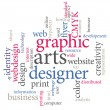 Graphic designer. Trendy print concept word cloud. — Stockvectorbeeld