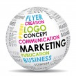 Vector de stock : Marketing communication world. Vector icon.