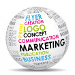 Vettoriale Stock : Marketing communication world. Vector icon.