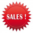 Stock Vector: Sales ! Red website icon.