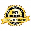 100% guarantee. Satisfaction guaranteed golden icon. — Stockvector