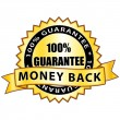 Money back 100% guarantee. Golden label. — Stockvector